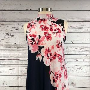 Tiana B. Dresses - Tiana B. Mock neck knee length floral pink navy